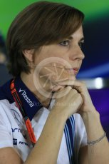 World © Octane Photographic Ltd.. Friday 27th November 2015, F1 Abu Dhabi Grand Prix, Team Personnel FIA Press Conference, Yas Marina. Claire Williams – Williams Martini Racing Deputy Team Principal. Digital Ref: 1480LB1D8100