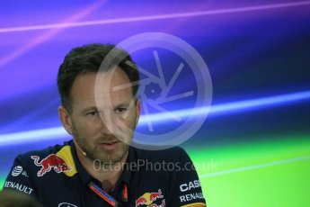 World © Octane Photographic Ltd.. Friday 27th November 2015, F1 Abu Dhabi Grand Prix, Team Personnel FIA Press Conference, Yas Marina. Christian Horner – Infiniti Red Bull Racing Team Principle. Digital Ref: 1480LB1D8151