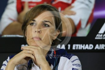 World © Octane Photographic Ltd.. Friday 27th November 2015, F1 Abu Dhabi Grand Prix, Team Personnel FIA Press Conference, Yas Marina. Claire Williams – Williams Martini Racing Deputy Team Principal. Digital Ref: 1480LB1D8157