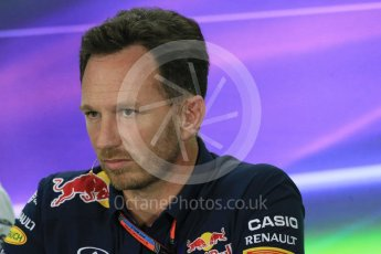 World © Octane Photographic Ltd.. Friday 27th November 2015, F1 Abu Dhabi Grand Prix, Team Personnel FIA Press Conference, Yas Marina. Christian Horner – Infiniti Red Bull Racing Team Principle. Digital Ref: 1480LB1D8168