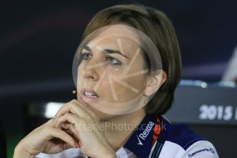 World © Octane Photographic Ltd.. Friday 27th November 2015, F1 Abu Dhabi Grand Prix, Team Personnel FIA Press Conference, Yas Marina. Claire Williams – Williams Martini Racing Deputy Team Principal. Digital Ref: 1480LB1D8250