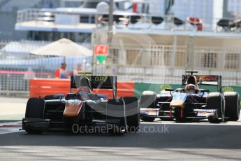 World © Octane Photographic Ltd. Friday 27th November 2015. Trident – Daniël de Jong and DAMS – Pierre Gasly. GP2 Practice, Yas Marina, Abu Dhabi. Digital Ref. : 1476LB1D5588