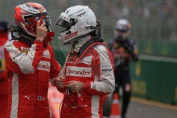 World © Octane Photographic Ltd. Scuderia Ferrari SF15-T– Sebastian Vettel and Kimi Raikkonen. Saturday 14th March 2015, F1 Australian GP Qualifying Parc Ferme, Melbourne, Albert Park, Australia. Digital Ref: 1206LB1D8058