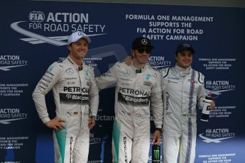 World © Octane Photographic Ltd. Mercedes AMG Petronas F1 W06 Hybrid – Lewis Hamilton and Nico Rosberg and Williams Martini Racing FW37 – Felipe Massa. Saturday 14th March 2015, F1 Australian GP Qualifying Parc Ferme, Melbourne, Albert Park, Australia. Digital Ref: 1206LB1D8152
