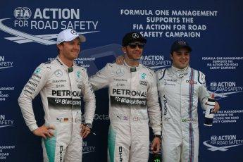 World © Octane Photographic Ltd. Mercedes AMG Petronas F1 W06 Hybrid – Lewis Hamilton and Nico Rosberg and Williams Martini Racing FW37 – Felipe Massa. Saturday 14th March 2015, F1 Australian GP Qualifying Parc Ferme, Melbourne, Albert Park, Australia. Digital Ref: 1206LB1D8164