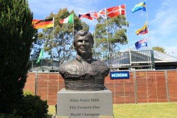 World © Octane Photographic Ltd. Wednesday 11th March 2015, F1 Australian GP, Melbourne, Albert Park, Australia, Alan Jones statue. Digital Ref: 1197LW1L5554