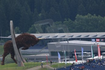 World © Octane Photographic Ltd. Red Bull statue. Friday 19th June 2015, F1 Austrian GP Practice 1, Red Bull Ring, Spielberg, Austria. Digital Ref: 1304LB1D5021