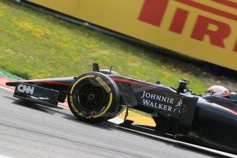 World © Octane Photographic Ltd. McLaren Honda MP4/30 - Jenson Button. Friday 19th June 2015, F1 Austrian GP Practice 1, Red Bull Ring, Spielberg, Austria. Digital Ref: 1304LB1D5530