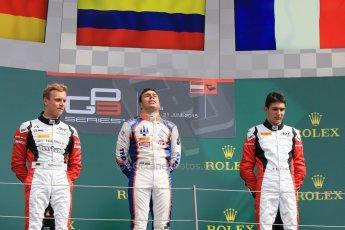 World © Octane Photographic Ltd. Sunday 21st June 2015. Trident – Oscar Tunjo (1st), ART Grand Prix – Marvin Kirchhofer (2nd) and Esteban Ocon (3rd - later disqualified). GP3 Race 2 – Red Bull Ring, Spielberg, Austria. Digital Ref. : 1316CB7D6912