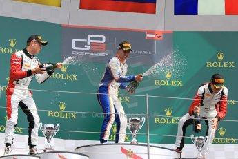World © Octane Photographic Ltd. Sunday 21st June 2015. Trident – Oscar Tunjo (1st), ART Grand Prix – Marvin Kirchhofer (2nd) and Esteban Ocon (3rd - later disqualified). GP3 Race 2 – Red Bull Ring, Spielberg, Austria. Digital Ref. : 1316CB7D6987