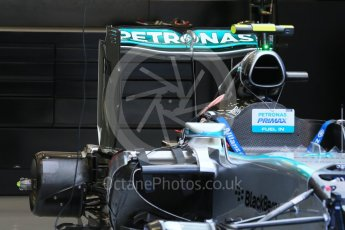 World © Octane Photographic Ltd. Mercedes AMG Petronas F1 W06 Hybrid rear wing– Nico Rosberg. Friday 21st August 2015, F1 Belgian GP Pitlane, Spa-Francorchamps, Belgium. Digital Ref: 1379LB1D7433