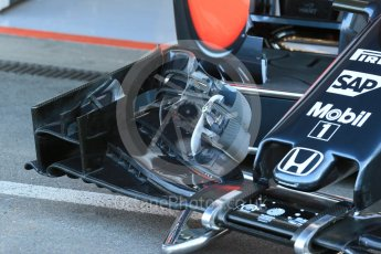 World © Octane Photographic Ltd. McLaren Honda MP4/30 fromt wing detail. Friday 21st August 2015, F1 Belgian GP Pitlane, Spa-Francorchamps, Belgium. Digital Ref: 1379LB1D7486
