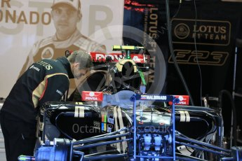 World © Octane Photographic Ltd. Lotus F1 Team E23 Hybrid – Pastor Maldonado. Friday 21st August 2015, F1 Belgian GP Pitlane, Spa-Francorchamps, Belgium. Digital Ref: 1379LB1D7537