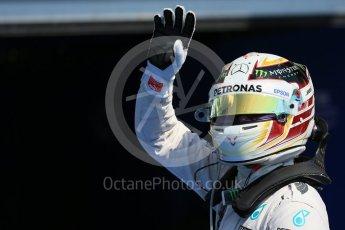 World © Octane Photographic Ltd. Mercedes AMG Petronas F1 W06 Hybrid – Lewis Hamilton. Saturday 22nd August 2015, F1 Belgian GP Qualifying Parc Ferme, Spa-Francorchamps, Belgium. Digital Ref: