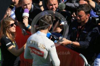 World © Octane Photographic Ltd. Lotus F1 Team E23 Hybrid – Romain Grosjean. Saturday 22nd August 2015, F1 Belgian GP Post-Qualifying Media Interviews, Spa-Francorchamps, Belgium. Digital Ref: 1382LB1D0861