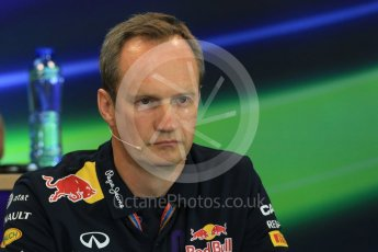 World © Octane Photographic Ltd. FIA Team Personnel Press Conference. Friday 21st August 2015, F1 Belgian GP, Spa-Francorchamps, Belgium. Paul Monaghan - Infinity Red Bull Racing Chief Engineer - Car Engineering. Digital Ref: 1377LB1D8724
