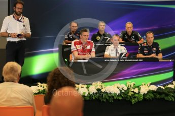 World © Octane Photographic Ltd. FIA Team Personnel Press Conference. Friday 21st August 2015, F1 Belgian GP, Spa-Francorchamps, Belgium. James Allison - Scuderia Ferrari Technical Director, Nick Chester – Lotus F1 Team Technical Director, Giampaolo Dall'Ara – Sauber Ferrari F1 Team Head of Track Engineering, Andrew Green – Sahara Force India Technical Director, Paddy Lowe - Mercedes AMG Petronas Executive Director (Technical), Paul Monaghan - Infinity Red Bull Racing Chief Engineer - Car Engineering. Digital Ref: 1377LB5D6576