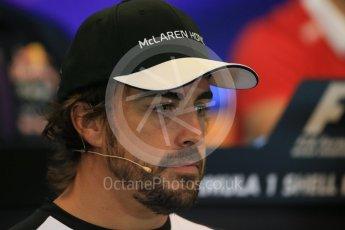 World © Octane Photographic Ltd. FIA Drivers' Press Conference. Thursday 23rd July 2015, F1 Belgian GP, Spa-Francorchamps, Belgium. Fernando Alonso – McLaren Honda. Digital Ref: 1371LB1D7146