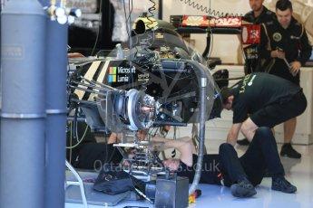 World © Octane Photographic Ltd. Lotus F1 Team E23 Hybrid – Pastor Maldonado. Thursday 20th August 2015, F1 Belgian GP Pitlane, Spa-Francorchamps, Belgium. Digital Ref: 1370LB1D7018