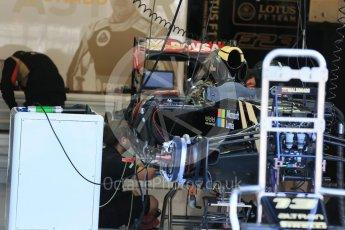 World © Octane Photographic Ltd. Lotus F1 Team E23 Hybrid – Romain Grosjean. Thursday 20th August 2015, F1 Belgian GP Pitlane, Spa-Francorchamps, Belgium. Digital Ref: 1370LB1D7038