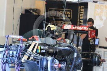 World © Octane Photographic Ltd. Lotus F1 Team E23 Hybrid – Romain Grosjean. Thursday 20th August 2015, F1 Belgian GP Pitlane, Spa-Francorchamps, Belgium. Digital Ref: 1370LB1D7053