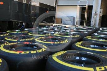 World © Octane Photographic Ltd. Pirelli medium (white) and soft (yellow) tyres. Thursday 20th August 2015, F1 Belgian GP Pitlane, Spa-Francorchamps, Belgium. Digital Ref: 1370LB5D6266