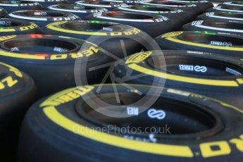 World © Octane Photographic Ltd. Pirelli medium (white) and soft (yellow) tyres. Thursday 20th August 2015, F1 Belgian GP Pitlane, Spa-Francorchamps, Belgium. Digital Ref: 1370LB5D6268