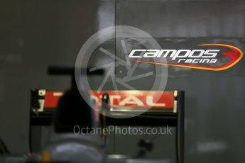 World © Octane Photographic Ltd. Thursday 20th August 2015. Campos Racing logo. GP2 Paddock – Spa-Francorchamps, Belgium. Digital Ref. : 1372LB1D7409