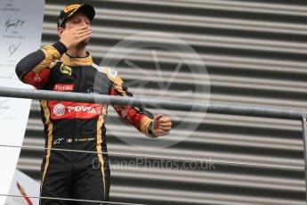 World © Octane Photographic Ltd. Lotus F1 Team E23 Hybrid – Romain Grosjean (3rd). Sunday 23rd August 2015, F1 Belgian GP Podium, Spa-Francorchamps, Belgium. Digital Ref: 1390LB1D2219