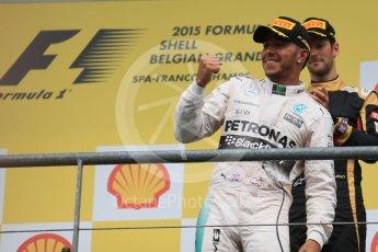 World © Octane Photographic Ltd. Mercedes AMG Petronas F1 W06 Hybrid – Lewis Hamilton (1st). Sunday 23rd August 2015, F1 Belgian GP Podium, Spa-Francorchamps, Belgium. Digital Ref: 1390LB1D2259
