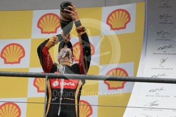 World © Octane Photographic Ltd. Lotus F1 Team E23 Hybrid – Romain Grosjean (3rd). Sunday 23rd August 2015, F1 Belgian GP Podium, Spa-Francorchamps, Belgium. Digital Ref: 1390LB1D2458