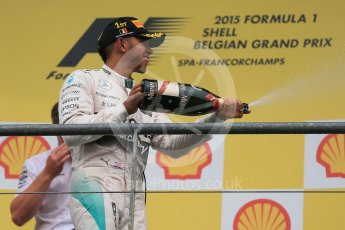 World © Octane Photographic Ltd. Mercedes AMG Petronas F1 W06 Hybrid – Lewis Hamilton (1st). Sunday 23rd August 2015, F1 Belgian GP Podium, Spa-Francorchamps, Belgium. Digital Ref: 1390LB1D2467