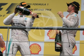 World © Octane Photographic Ltd. Mercedes AMG Petronas F1 W06 Hybrid – Lewis Hamilton (1st), Nico Rosberg (2nd). Sunday 23rd August 2015, F1 Belgian GP Podium, Spa-Francorchamps, Belgium. Digital Ref: 1390LB1D2473