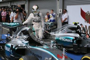 World © Octane Photographic Ltd. Mercedes AMG Petronas F1 W06 Hybrid – Lewis Hamilton. Sunday 23rd August 2015, F1 Belgian GP Parc Ferme, Spa-Francorchamps, Belgium. Digital Ref: 1390LB5D0127