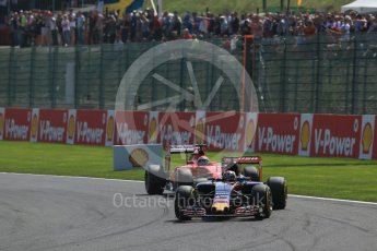 World © Octane Photographic Ltd. Scuderia Toro Rosso STR10 – Max Verstappen and Scuderia Ferrari SF15-T – Kimi Raikkonen. . Sunday 23rd August 2015, F1 Belgian GP Race, Spa-Francorchamps, Belgium. Digital Ref: 1389LB1D2132
