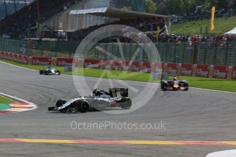 World © Octane Photographic Ltd. Sahara Force India VJM08B – Sergio Perez. Sunday 23rd August 2015, F1 Belgian GP Race, Spa-Francorchamps, Belgium. Digital Ref: 1389LB5D0044
