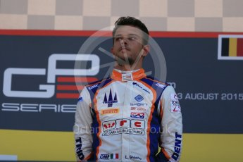 World © Octane Photographic Ltd. Sunday 23rd August 2015. Trident – Luca Ghiotto (1st). GP3 Race 2 Podium – Spa-Francorchamps, Belgium. Digital Ref. : 1385LB1D1568