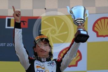 World © Octane Photographic Ltd. Sunday 23rd August 2015. ART Grand Prix - Alfonso Celis Jr (3rd). GP3 Race 2 Podium – Spa-Francorchamps, Belgium. Digital Ref. : 1385LB1D1607
