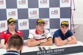 World © Octane Photographic Ltd. Saturday 4th July 2015. ART Grand Prix – Marvin Kirchhofer (1st), Arden International – Emil Bernstorff (2nd) and Koiranen GP – Matthew Parry (3rd). GP3 Race 1 – Silverstone, UK. Digital Ref. : 1337JM1D4174