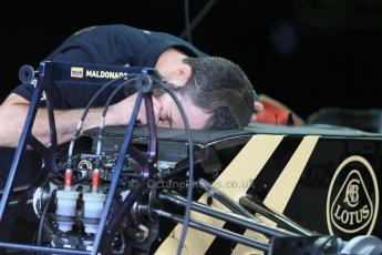 World © Octane Photographic Ltd. Lotus F1 Team E23 Hybrid. Thursday 2nd July 2015, F1 British GP Pit Lane, Silverstone, UK. Digital Ref: 1324LB1D2924