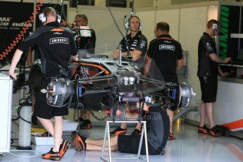 World © Octane Photographic Ltd. Sahara Force India VJM08. Thursday 2nd July 2015, F1 British GP Pit Lane, Silverstone, UK. Digital Ref: 1324LB5D8423