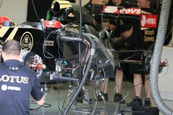 World © Octane Photographic Ltd. Lotus F1 Team E23 Hybrid. Thursday 2nd July 2015, F1 British GP Pit Lane, Silverstone, UK. Digital Ref: 1324LB5D8507