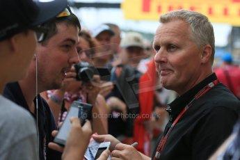 World © Octane Photographic Ltd. Johnny Herbert. Thursday 2nd July 2015, F1 British GP Paddock, Silverstone, UK. Digital Ref: 1324LB5D8636