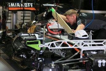 World © Octane Photographic Ltd. Sahara Force India VJM08 – Nico Hulkenberg. Thursday 2nd July 2015, F1 British GP Pit lane, Silverstone, UK. Digital Ref: 1324LB5D8646