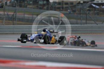 World © Octane Photographic Ltd. Sauber F1 Team C34-Ferrari – Marcus Ericsson. Friday 23rd October 2015, F1 USA Grand Prix Practice 1, Austin, Texas - Circuit of the Americas (COTA). Digital Ref: 1460LB1D9404