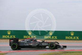 World © Octane Photographic Ltd. McLaren Honda MP4/30 - Jenson Button. Friday 23rd October 2015, F1 USA Grand Prix Practice 1, Austin, Texas - Circuit of the Americas (COTA). Digital Ref: 1460LB5D2926