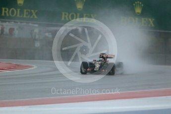 World © Octane Photographic Ltd. Lotus F1 Team E23 Hybrid – Romain Grosjean. Sunday 25th October 2015, F1 USA Grand Prix Qualifying, Austin, Texas - Circuit of the Americas (COTA). Digital Ref: 1464LB1D1108
