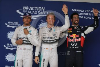 World © Octane Photographic Ltd. Mercedes AMG Petronas F1 W06 Hybrid – Nico Rosberg, followed by team mate Lewis Hamilton and  Infiniti Red Bull Racing RB11 – Daniel Ricciardo. Sunday 25th October 2015, F1 USA Grand Prix Qualifying, Austin, Texas - Circuit of the Americas (COTA). Digital Ref: 1464LB1D1335
