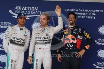 World © Octane Photographic Ltd. Mercedes AMG Petronas F1 W06 Hybrid – Nico Rosberg, followed by team mate Lewis Hamilton and  Infiniti Red Bull Racing RB11 – Daniel Ricciardo. Sunday 25th October 2015, F1 USA Grand Prix Qualifying, Austin, Texas - Circuit of the Americas (COTA). Digital Ref: 1464LB1D1364