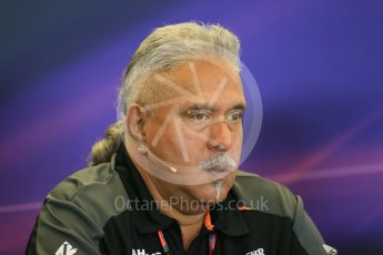 World © Octane Photographic Ltd. FIA Team Personnel Press Conference. Friday 23rd October 2015, F1 USA Grand Prix, Austin, Texas - Circuit of the Americas (COTA). Sahara Force India Team Principal – Vijay Mallya. Digital Ref: 1462LB1D9675